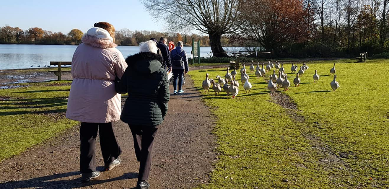 Residents from Heartlands Nursing Home walking around their local lake.