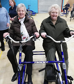 Enjoying cycling at Grimsby Leisure Centre